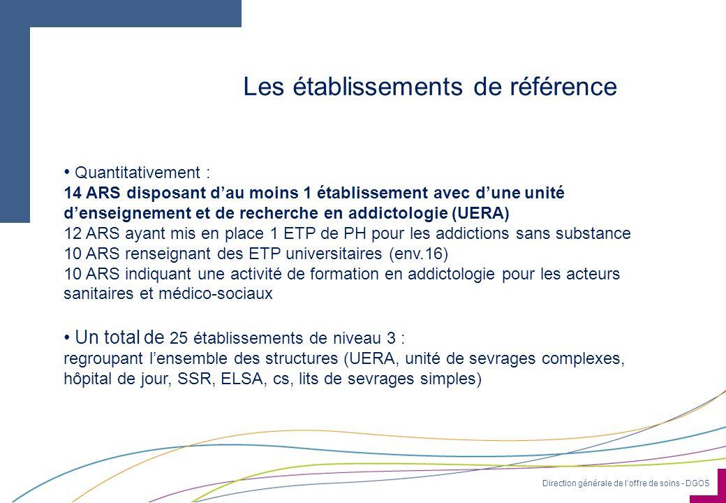 Direction générale de loffre de soins - DGOS Les établissements de référence Quantitativement : 14 ARS disposant dau moins 1 établissement avec dune u