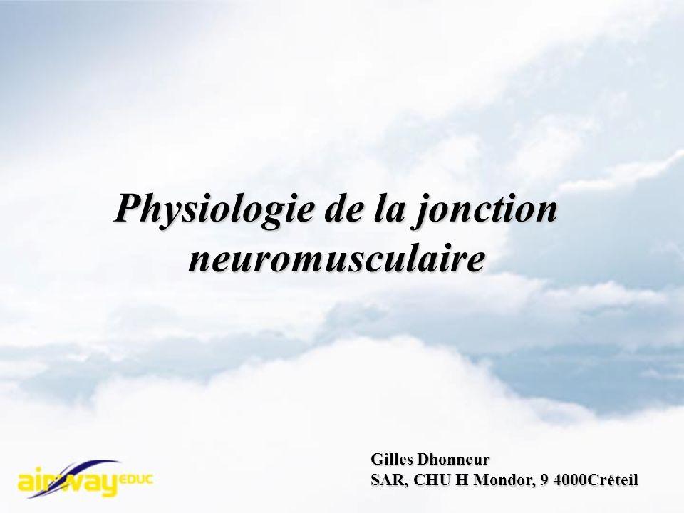 Physiologie de la jonction neuromusculaire Gilles Dhonneur SAR, CHU H Mondor, 9 4000Créteil