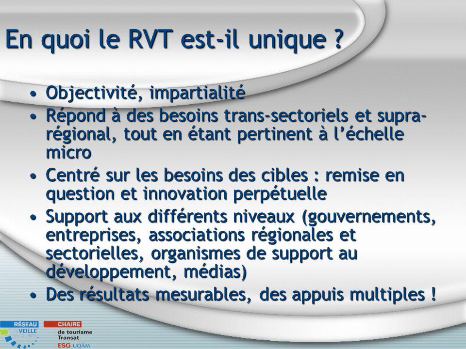 En quoi le RVT est-il unique ? Objectivité, impartialitéObjectivité, impartialité Répond à des besoins trans-sectoriels et supra- régional, tout en ét