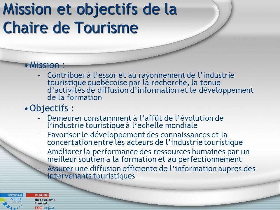 Mission et objectifs de la Chaire de Tourisme Mission : –Contribuer à lessor et au rayonnement de lindustrie touristique québécoise par la recherche,