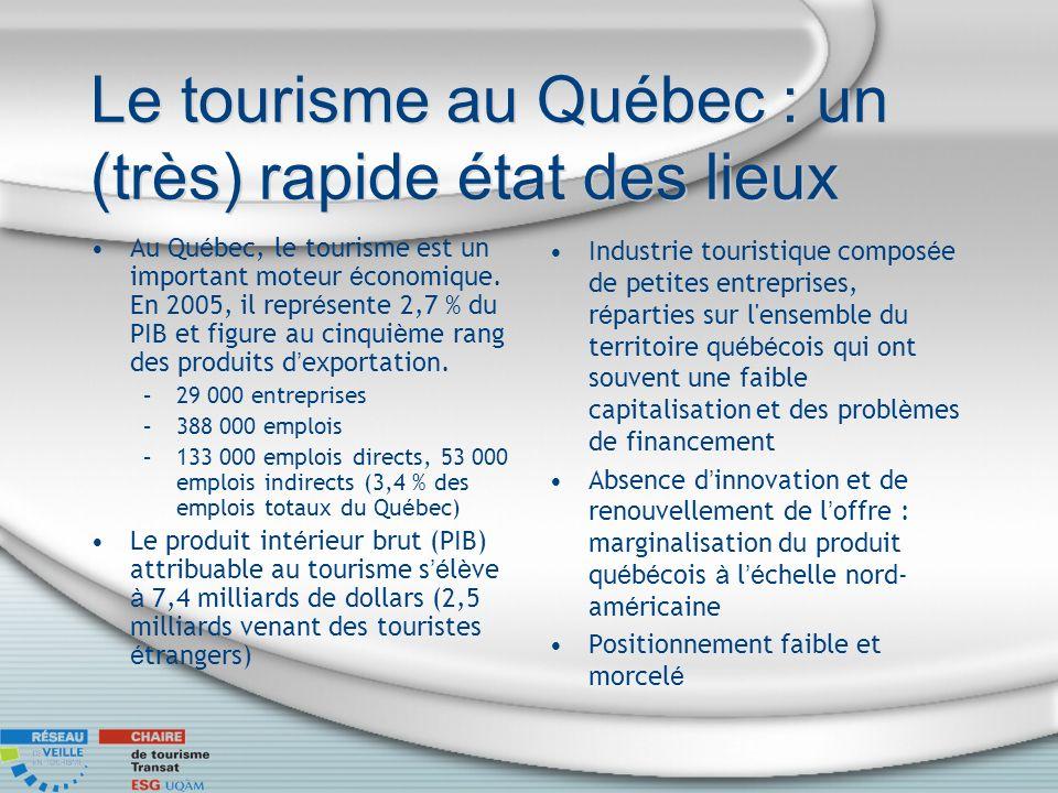 Le tourisme au Québec : un (très) rapide état des lieux Au Qu é bec, le tourisme est un important moteur é conomique. En 2005, il repr é sente 2,7 % d