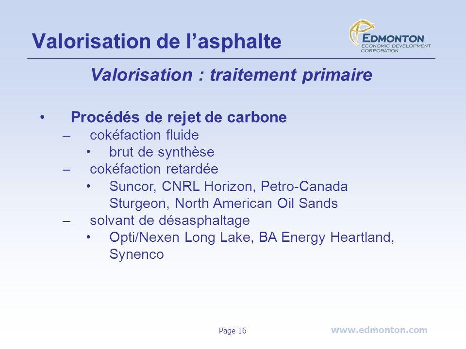www.edmonton.com Page 16 Valorisation de lasphalte Valorisation : traitement primaire Procédés de rejet de carbone –cokéfaction fluide brut de synthès