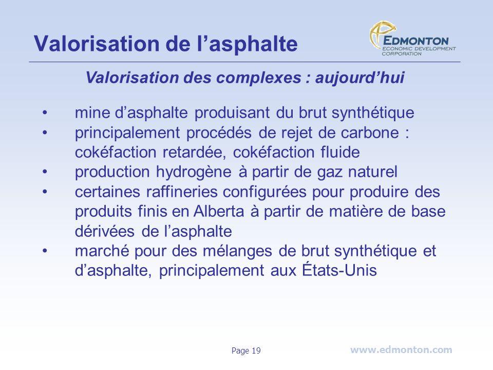 www.edmonton.com Page 19 Valorisation de lasphalte Valorisation des complexes : aujourdhui mine dasphalte produisant du brut synthétique principalemen