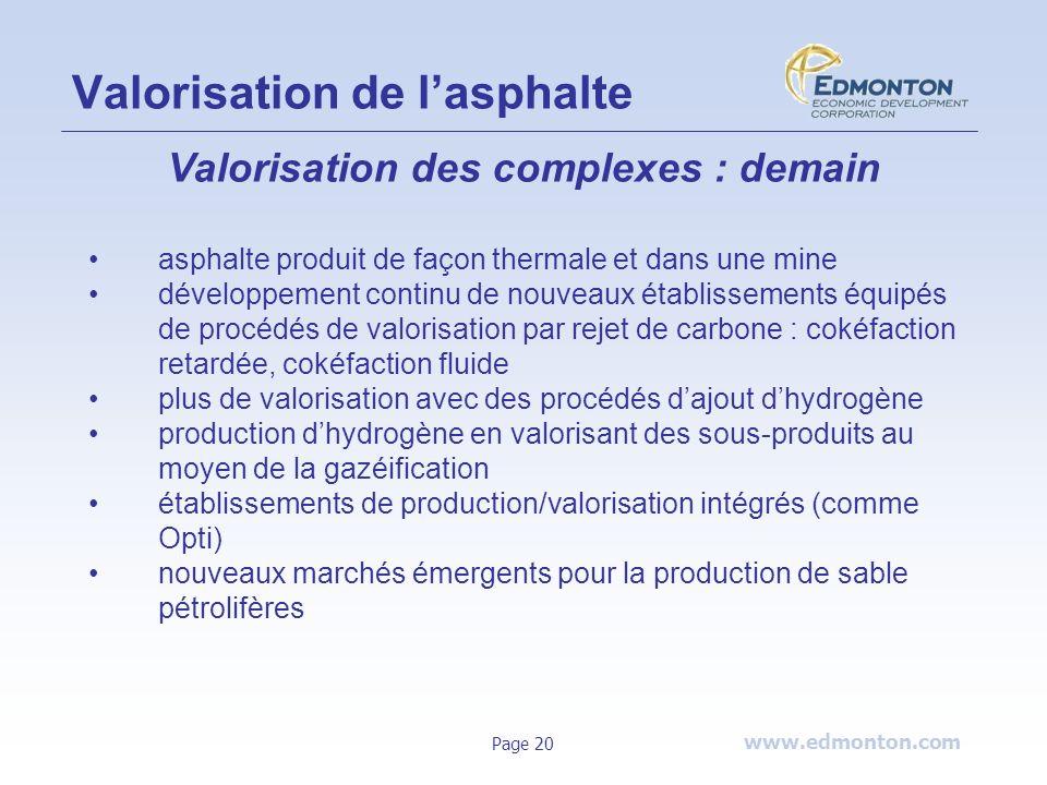 www.edmonton.com Page 20 Valorisation de lasphalte Valorisation des complexes : demain asphalte produit de façon thermale et dans une mine développeme