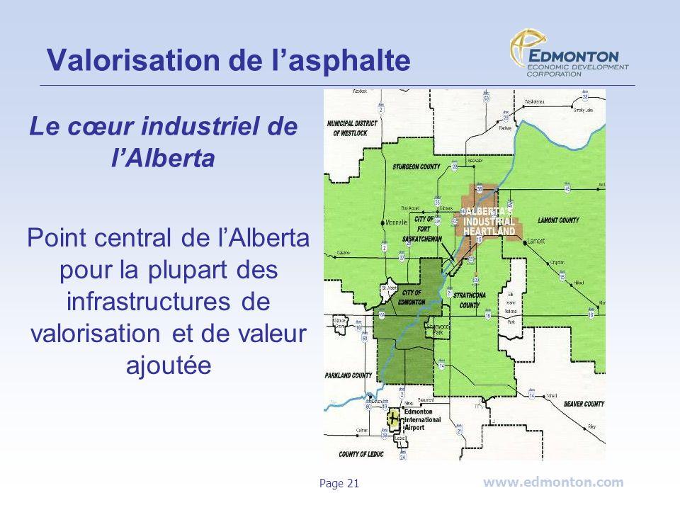 www.edmonton.com Page 21 Valorisation de lasphalte Le cœur industriel de lAlberta Point central de lAlberta pour la plupart des infrastructures de val