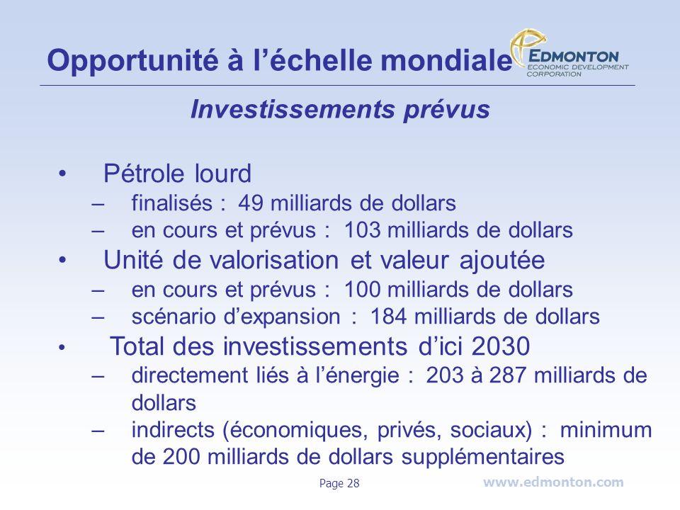 www.edmonton.com Page 28 Opportunité à léchelle mondiale Investissements prévus Pétrole lourd –finalisés : 49 milliards de dollars –en cours et prévus