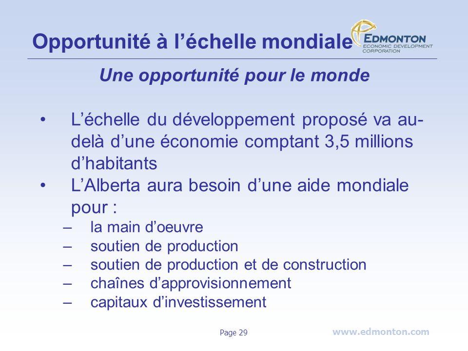 www.edmonton.com Page 29 Opportunité à léchelle mondiale Une opportunité pour le monde Léchelle du développement proposé va au- delà dune économie com