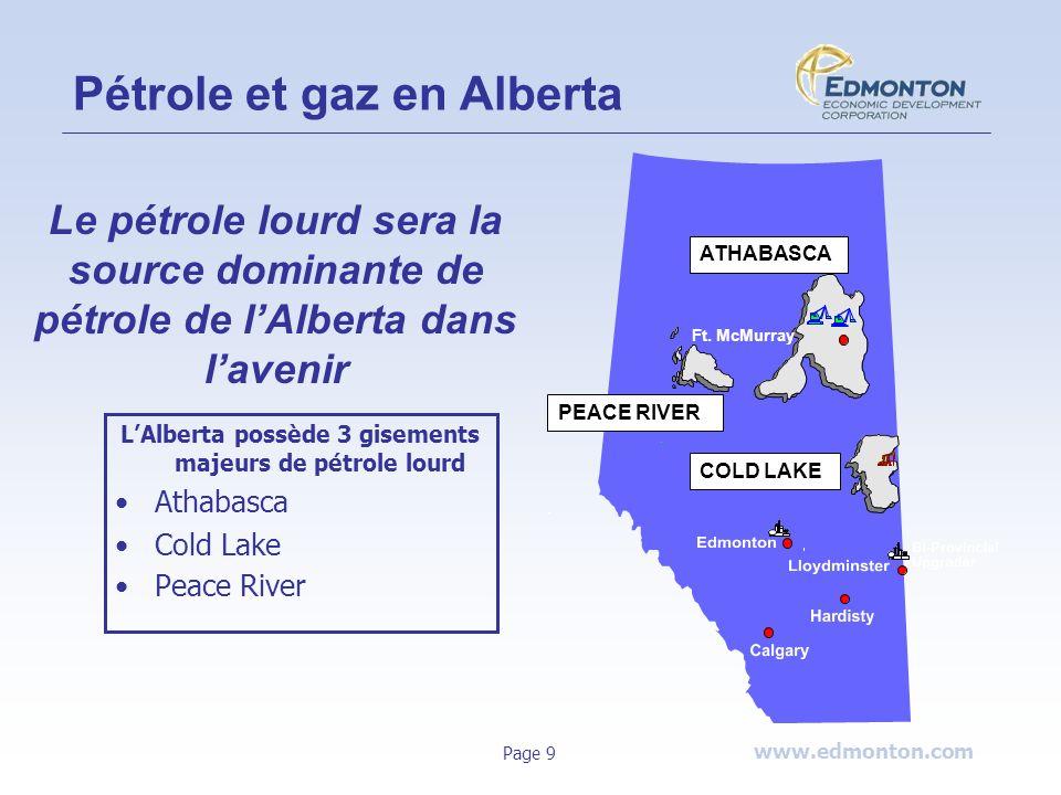www.edmonton.com Page 9 Ft. McMurray Pétrole et gaz en Alberta PEACE RIVER ATHABASCA COLD LAKE LAlberta possède 3 gisements majeurs de pétrole lourd A