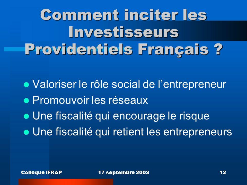 Colloque iFRAP17 septembre 200312 Comment inciter les Investisseurs Providentiels Français .