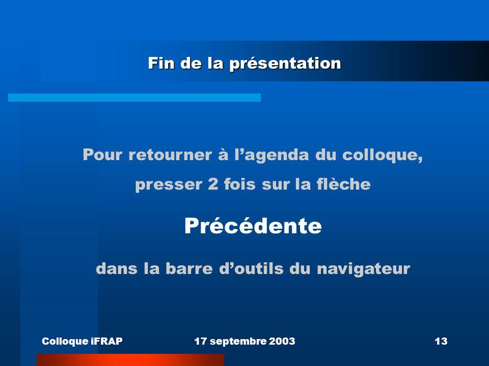 Colloque iFRAP17 septembre 200313 Fin de la présentation Pour retourner à lagenda du colloque, presser 2 fois sur la flèche Précédente dans la barre doutils du navigateur