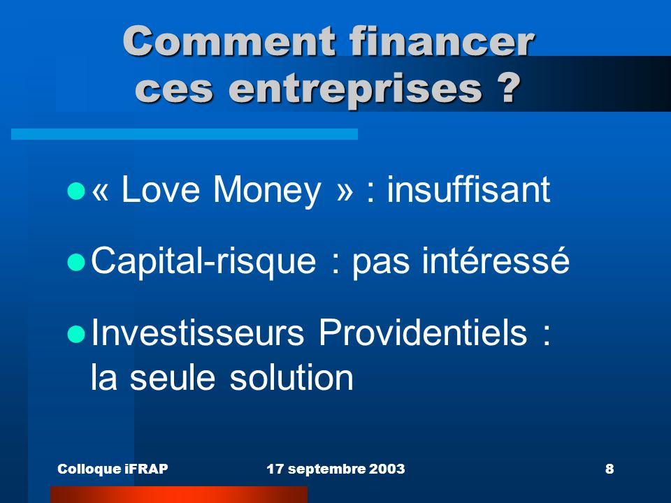 Colloque iFRAP17 septembre 20038 Comment financer ces entreprises .