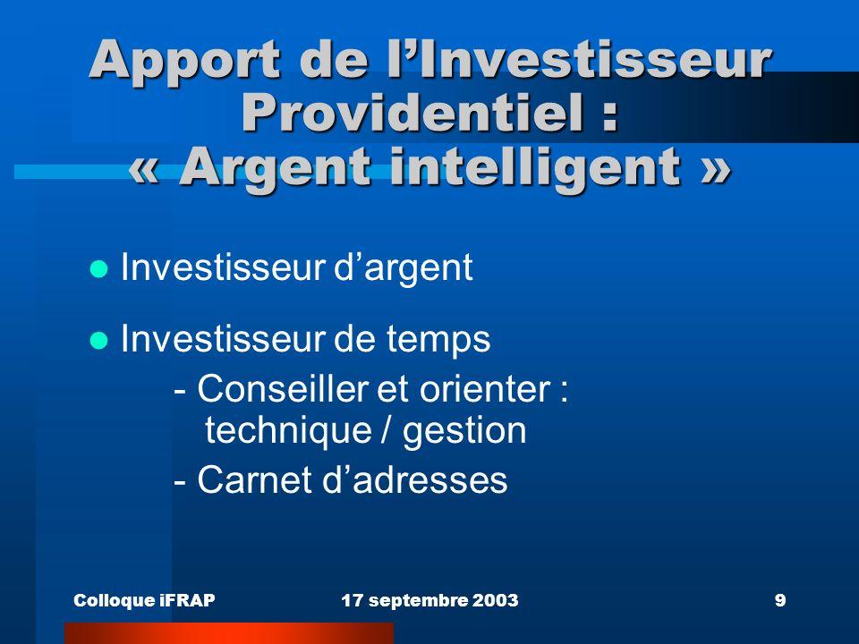 Colloque iFRAP17 septembre 20039 Apport de lInvestisseur Providentiel : « Argent intelligent » Investisseur dargent Investisseur de temps - Conseiller et orienter : technique / gestion - Carnet dadresses
