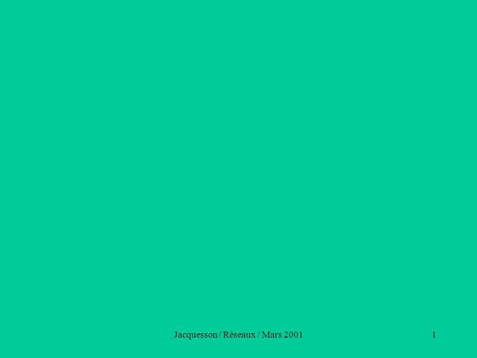 Jacquesson / Réseaux / Mars 200152 Les contraintes des réseaux (2) Opposition des fonds documentaires –fonds encyclopédiques –fonds spécialisés nécessité de filtres dans les OPAC Confrontation géographique des fonds –globaux –régionaux nécessité d OPAC par région ou par bibliothèque