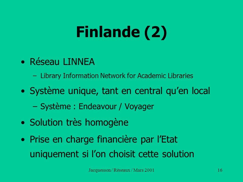 Jacquesson / Réseaux / Mars 200116 Finlande (2) Réseau LINNEA –Library Information Network for Academic Libraries Système unique, tant en central quen