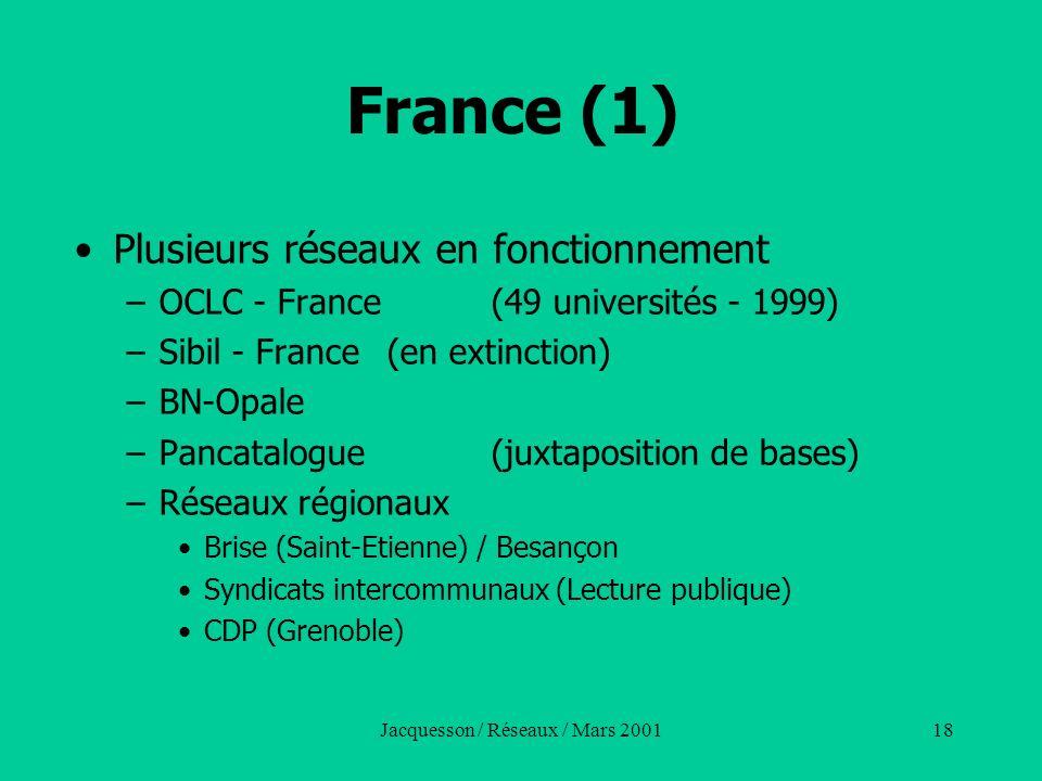 Jacquesson / Réseaux / Mars 200118 France (1) Plusieurs réseaux en fonctionnement –OCLC - France (49 universités - 1999) –Sibil - France (en extinctio