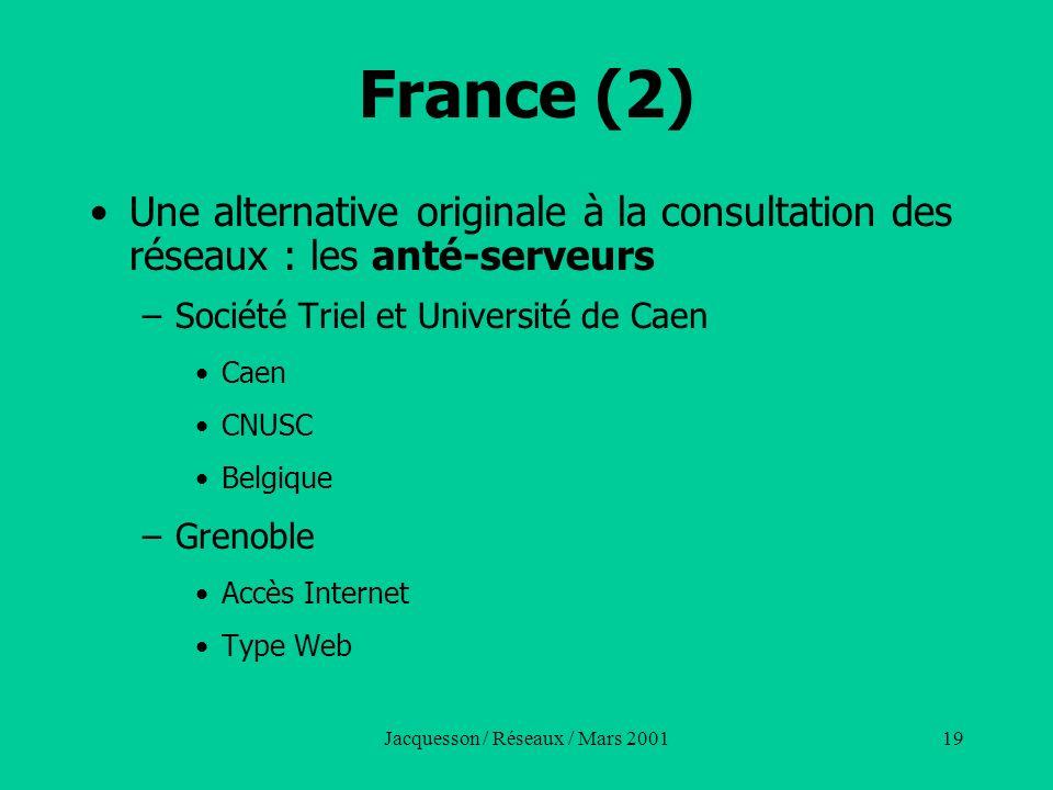 Jacquesson / Réseaux / Mars 200119 France (2) Une alternative originale à la consultation des réseaux : les anté-serveurs –Société Triel et Université