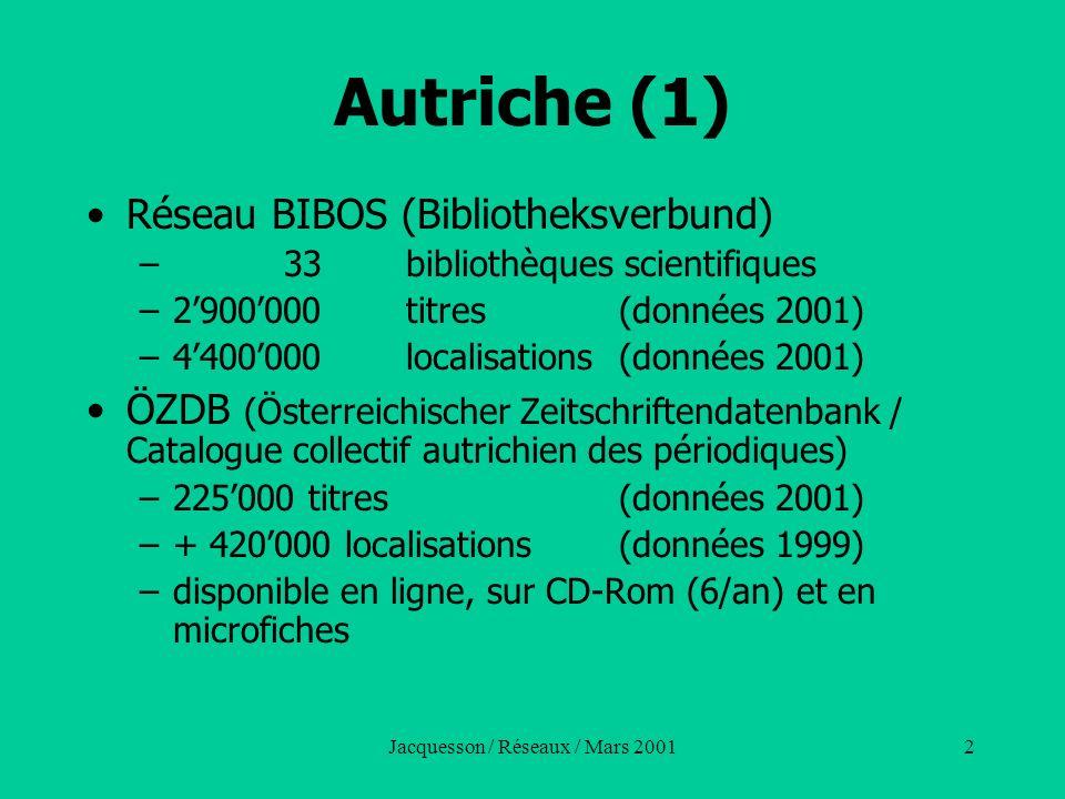 2 Autriche (1) Réseau BIBOS (Bibliotheksverbund) – 33bibliothèques scientifiques –2900000titres(données 2001) –4400000localisations(données 2001) ÖZDB