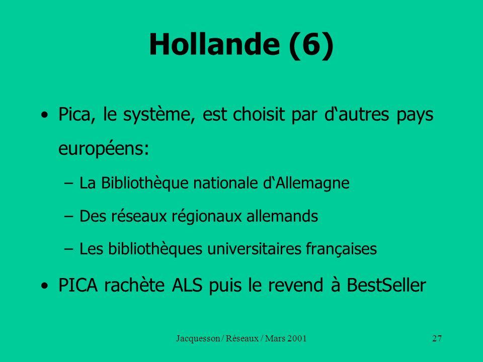Jacquesson / Réseaux / Mars 200127 Hollande (6) Pica, le système, est choisit par dautres pays européens: –La Bibliothèque nationale dAllemagne –Des r