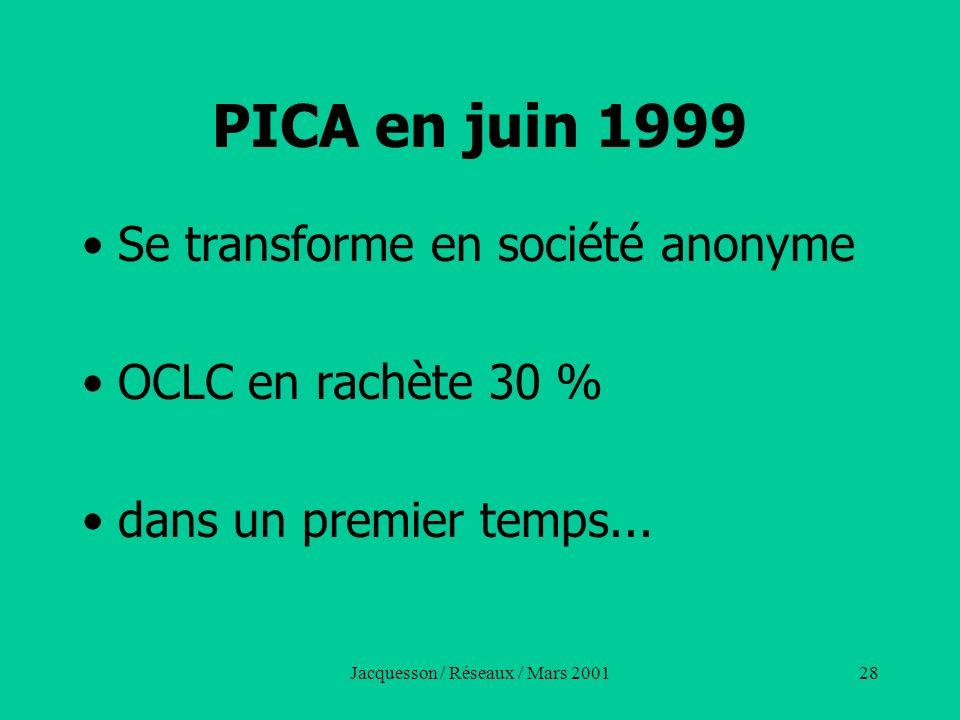 Jacquesson / Réseaux / Mars 200128 PICA en juin 1999 Se transforme en société anonyme OCLC en rachète 30 % dans un premier temps...