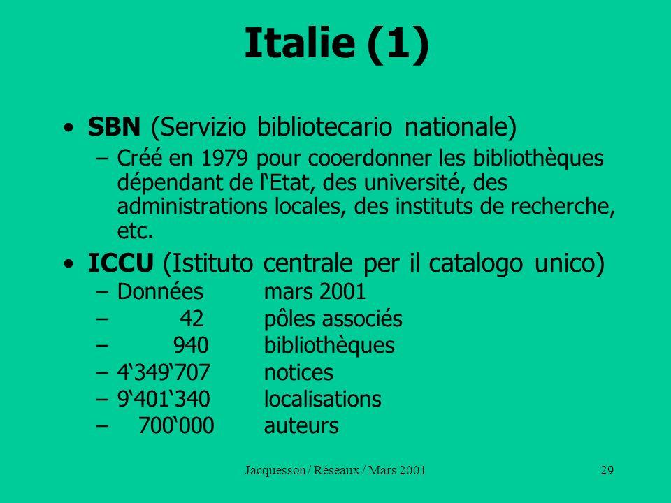 Jacquesson / Réseaux / Mars 200129 Italie (1) SBN (Servizio bibliotecario nationale) –Créé en 1979 pour cooerdonner les bibliothèques dépendant de lEt