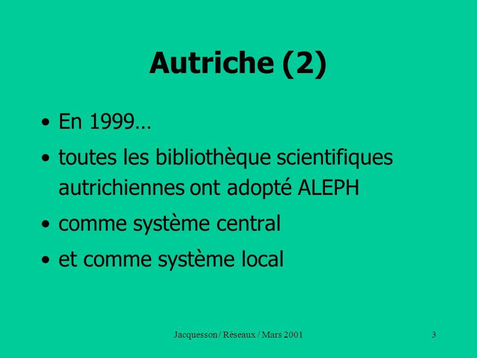 Jacquesson / Réseaux / Mars 20013 Autriche (2) En 1999… toutes les bibliothèque scientifiques autrichiennes ont adopté ALEPH comme système central et