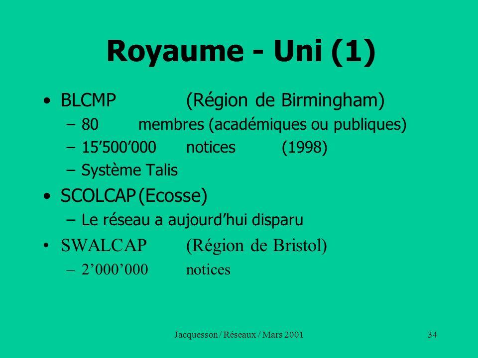 Jacquesson / Réseaux / Mars 200134 Royaume - Uni (1) BLCMP(Région de Birmingham) –80membres (académiques ou publiques) –15500000notices(1998) –Système