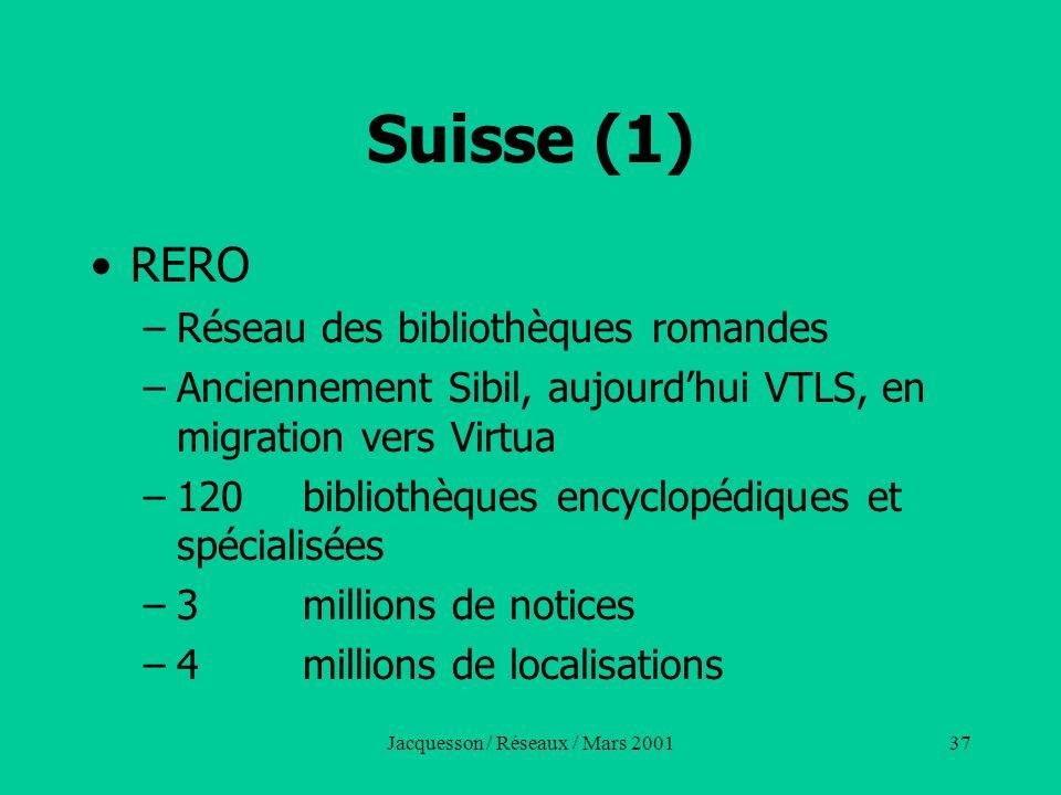 Jacquesson / Réseaux / Mars 200137 Suisse (1) RERO –Réseau des bibliothèques romandes –Anciennement Sibil, aujourdhui VTLS, en migration vers Virtua –