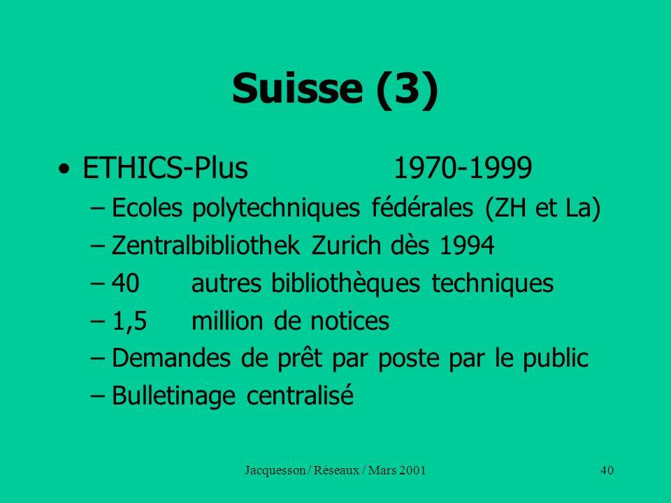 Jacquesson / Réseaux / Mars 200140 Suisse (3) ETHICS-Plus 1970-1999 –Ecoles polytechniques fédérales (ZH et La) –Zentralbibliothek Zurich dès 1994 –40