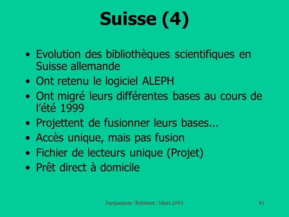 Jacquesson / Réseaux / Mars 200141 Suisse (4) Evolution des bibliothèques scientifiques en Suisse allemande Ont retenu le logiciel ALEPH Ont migré leu