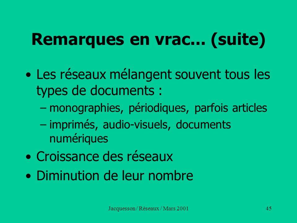 Jacquesson / Réseaux / Mars 200145 Remarques en vrac... (suite) Les réseaux mélangent souvent tous les types de documents : –monographies, périodiques