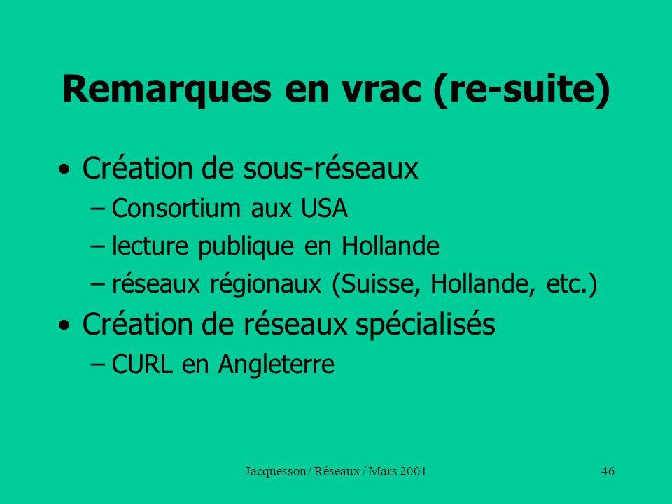 Jacquesson / Réseaux / Mars 200146 Remarques en vrac (re-suite) Création de sous-réseaux –Consortium aux USA –lecture publique en Hollande –réseaux ré
