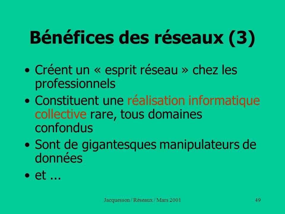 Jacquesson / Réseaux / Mars 200149 Bénéfices des réseaux (3) Créent un « esprit réseau » chez les professionnels Constituent une réalisation informati