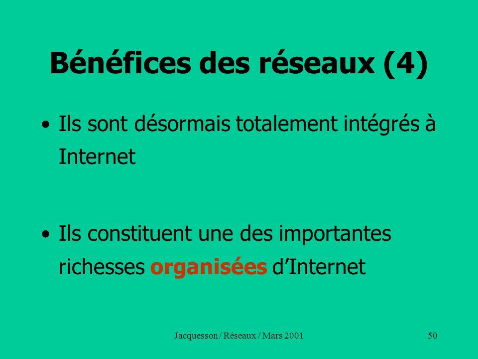 Jacquesson / Réseaux / Mars 200150 Bénéfices des réseaux (4) Ils sont désormais totalement intégrés à Internet Ils constituent une des importantes ric