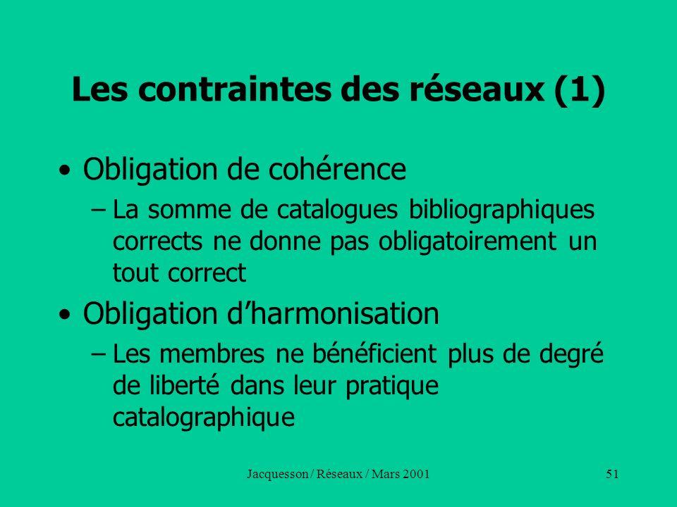 Jacquesson / Réseaux / Mars 200151 Les contraintes des réseaux (1) Obligation de cohérence –La somme de catalogues bibliographiques corrects ne donne