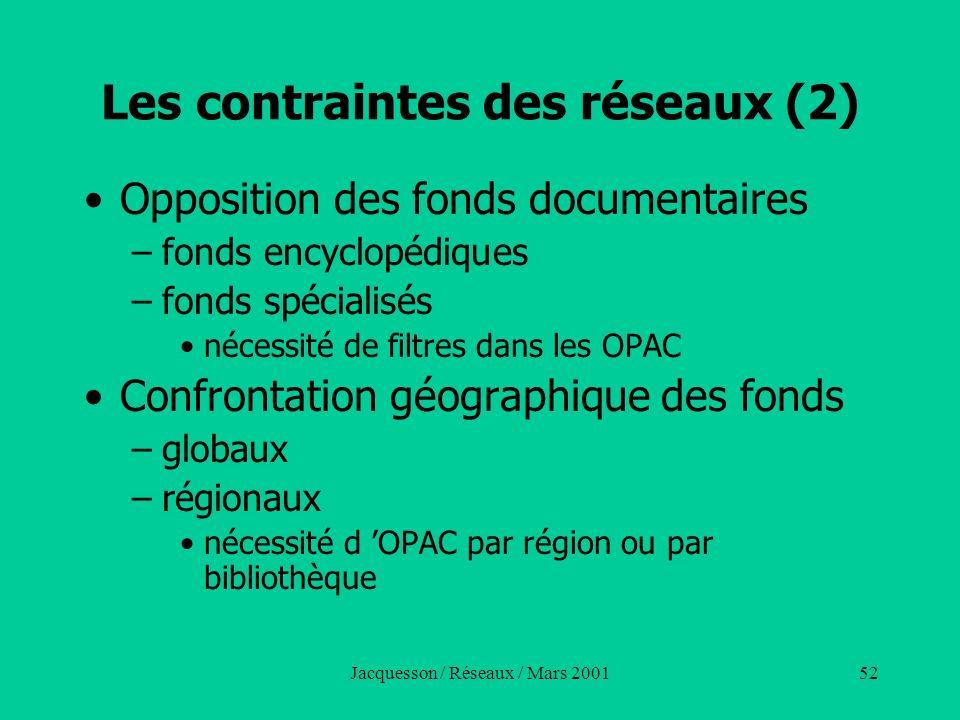 Jacquesson / Réseaux / Mars 200152 Les contraintes des réseaux (2) Opposition des fonds documentaires –fonds encyclopédiques –fonds spécialisés nécess