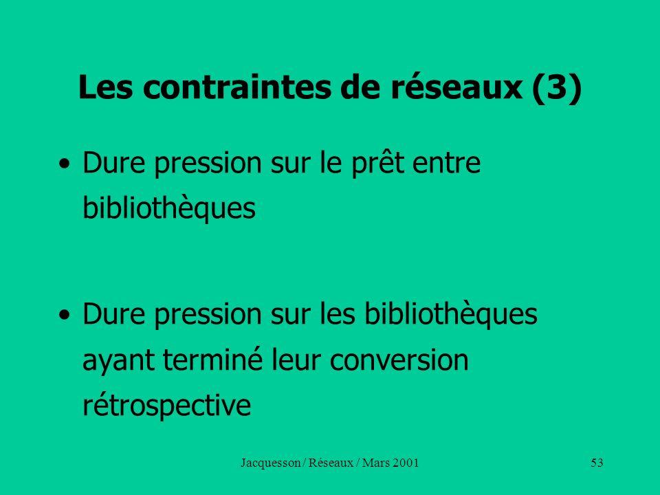 Jacquesson / Réseaux / Mars 200153 Les contraintes de réseaux (3) Dure pression sur le prêt entre bibliothèques Dure pression sur les bibliothèques ay