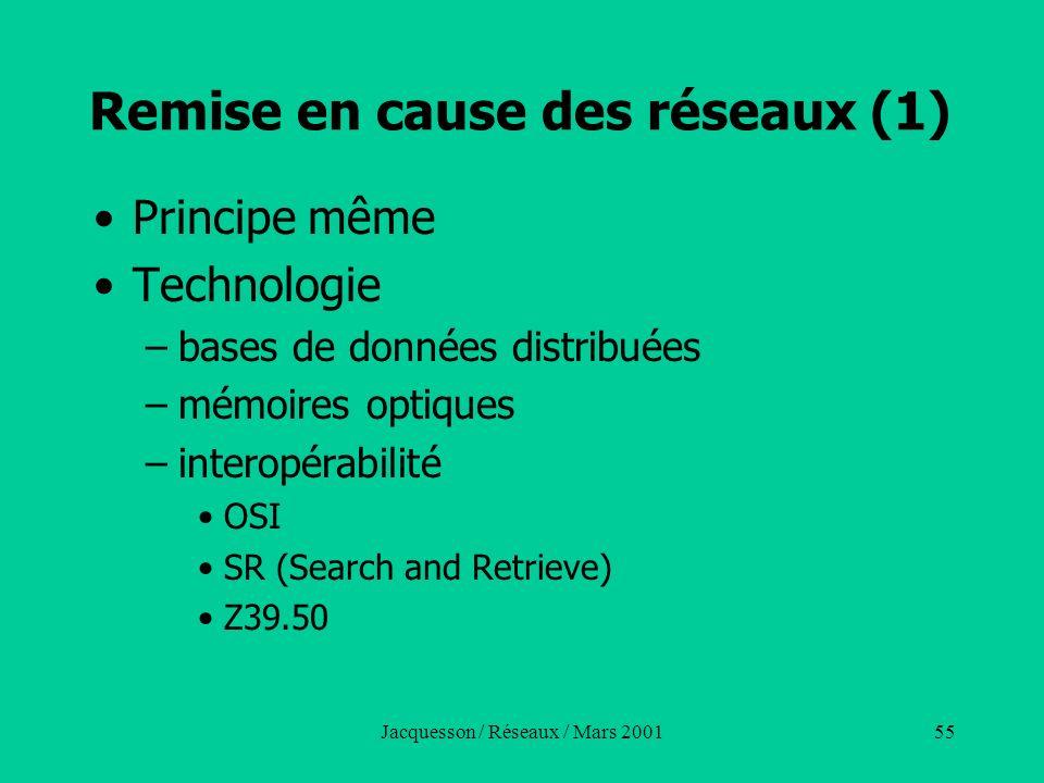 Jacquesson / Réseaux / Mars 200155 Remise en cause des réseaux (1) Principe même Technologie –bases de données distribuées –mémoires optiques –interop