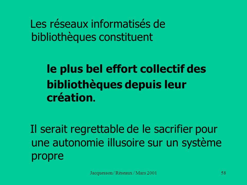 Jacquesson / Réseaux / Mars 200158 Les réseaux informatisés de bibliothèques constituent le plus bel effort collectif des bibliothèques depuis leur cr