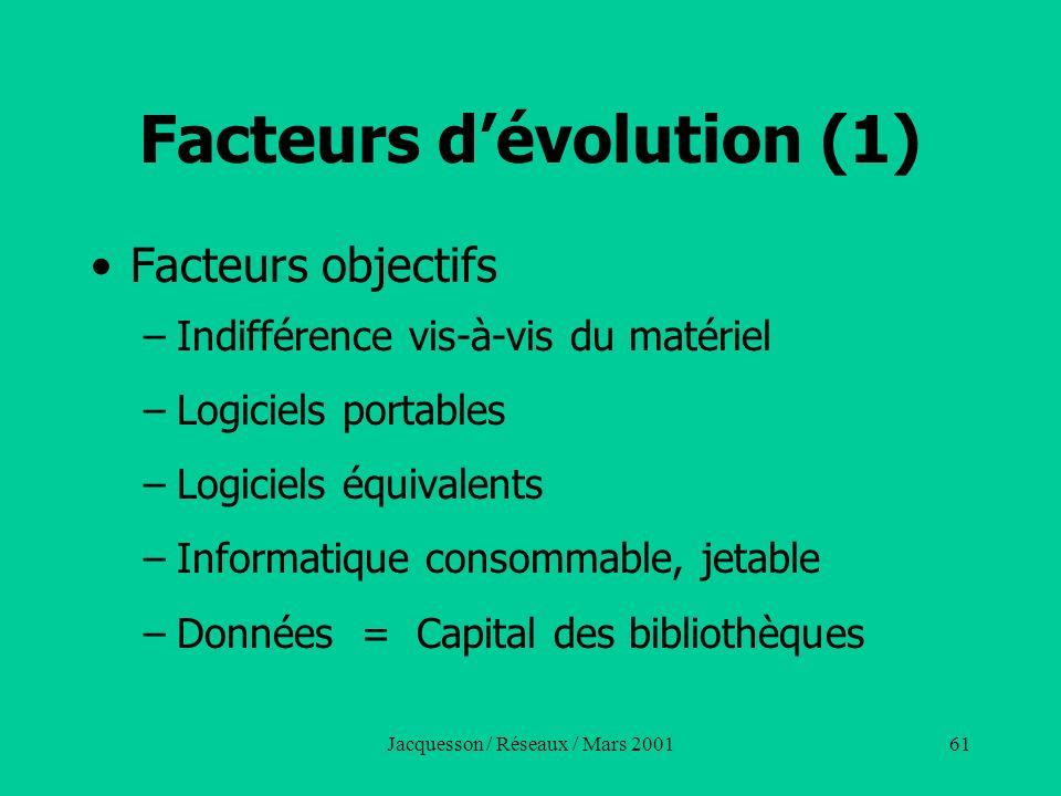 Jacquesson / Réseaux / Mars 200161 Facteurs dévolution (1) Facteurs objectifs –Indifférence vis-à-vis du matériel –Logiciels portables –Logiciels équi