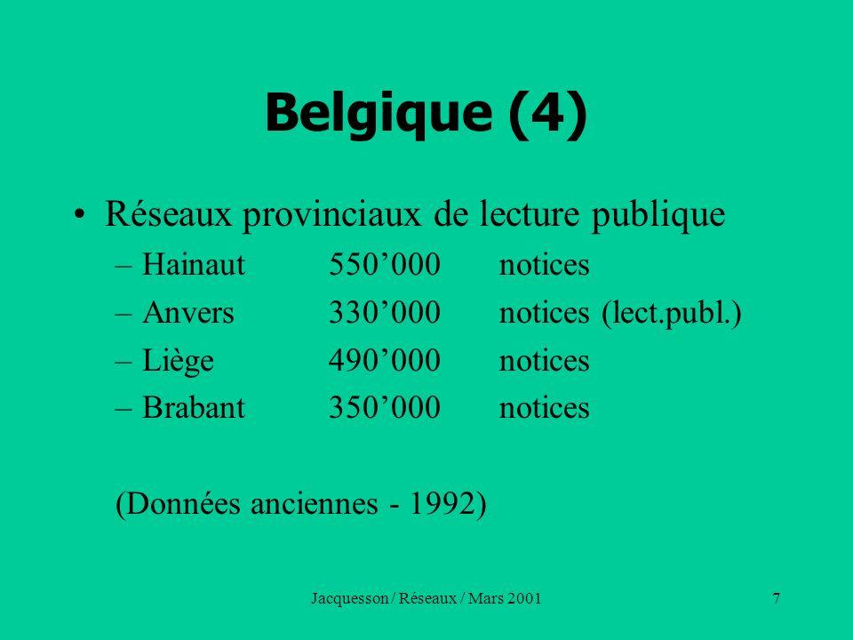 Jacquesson / Réseaux / Mars 200118 France (1) Plusieurs réseaux en fonctionnement –OCLC - France (49 universités - 1999) –Sibil - France (en extinction) –BN-Opale –Pancatalogue(juxtaposition de bases) –Réseaux régionaux Brise (Saint-Etienne) / Besançon Syndicats intercommunaux (Lecture publique) CDP (Grenoble)