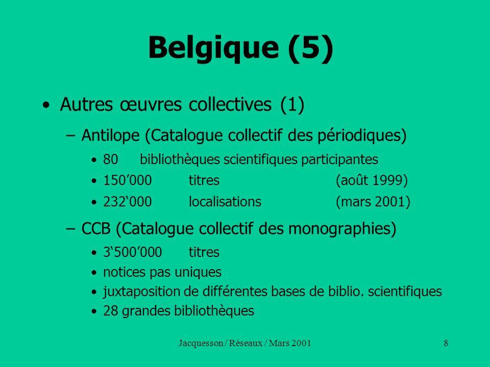 Jacquesson / Réseaux / Mars 200129 Italie (1) SBN (Servizio bibliotecario nationale) –Créé en 1979 pour cooerdonner les bibliothèques dépendant de lEtat, des université, des administrations locales, des instituts de recherche, etc.