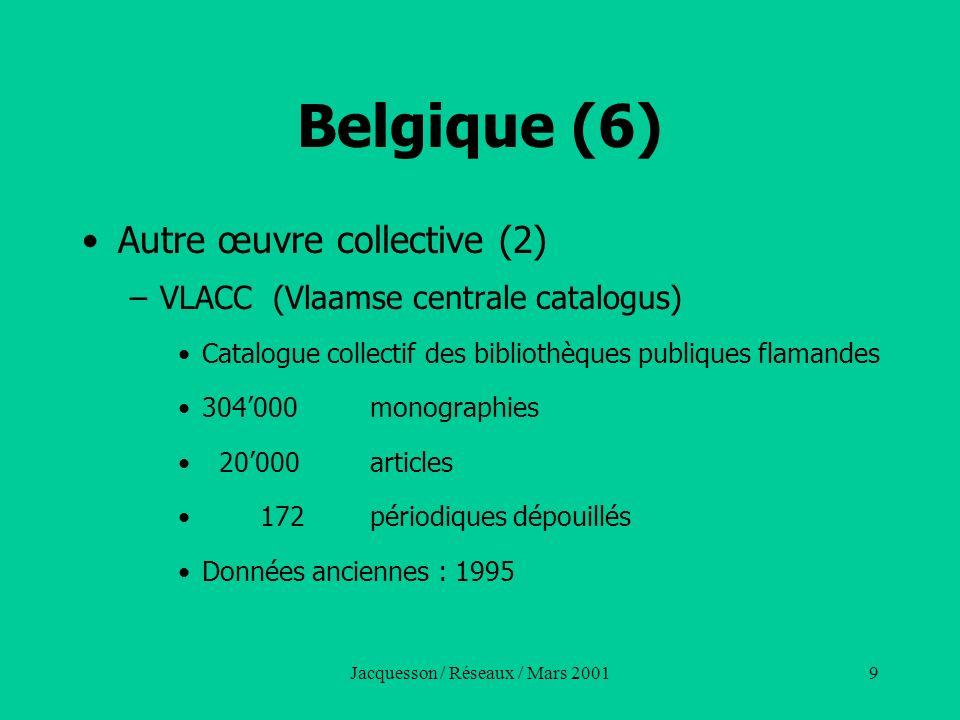 Jacquesson / Réseaux / Mars 20019 Belgique (6) Autre œuvre collective (2) –VLACC (Vlaamse centrale catalogus) Catalogue collectif des bibliothèques pu