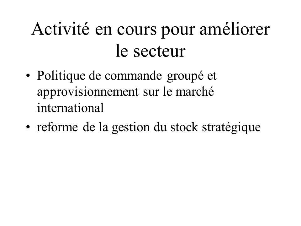 Activité en cours pour améliorer le secteur Politique de commande groupé et approvisionnement sur le marché international reforme de la gestion du sto