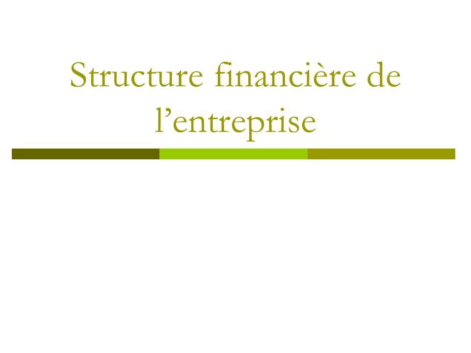 Structure financière La structure financière désigne la combinaison de capitaux propres dettes bancaires et financières nettes auxquels l entreprise a recours pour son financement.