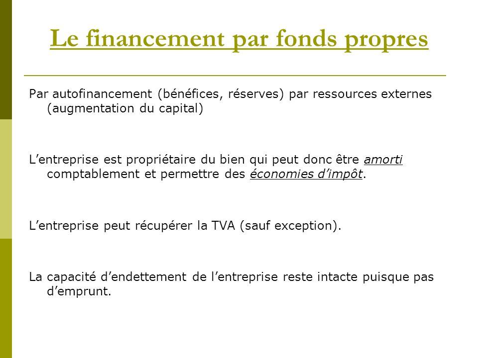 Le financement par fonds propres Par autofinancement (bénéfices, réserves) par ressources externes (augmentation du capital) Lentreprise est propriétaire du bien qui peut donc être amorti comptablement et permettre des économies dimpôt.
