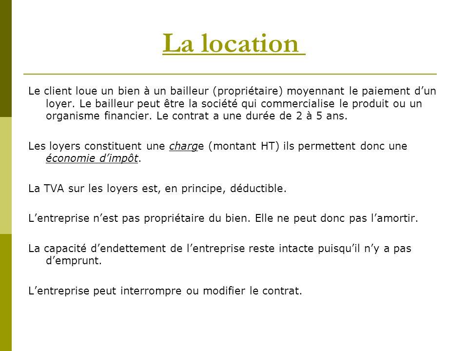 La location Le client loue un bien à un bailleur (propriétaire) moyennant le paiement dun loyer.