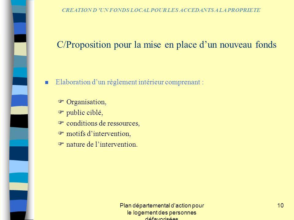 Plan départemental d'action pour le logement des personnes défavorisées 10 n Elaboration dun règlement intérieur comprenant : Organisation, Organisati
