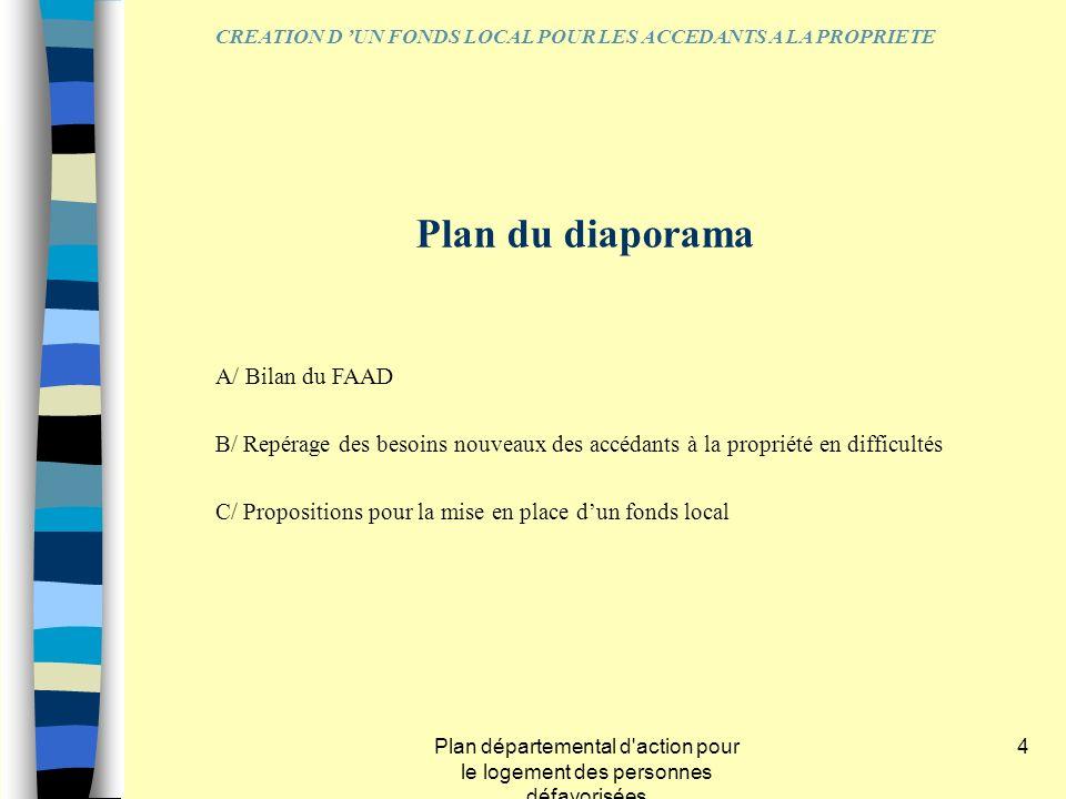 Plan départemental d'action pour le logement des personnes défavorisées 4 Plan du diaporama A/ Bilan du FAAD B/ Repérage des besoins nouveaux des accé