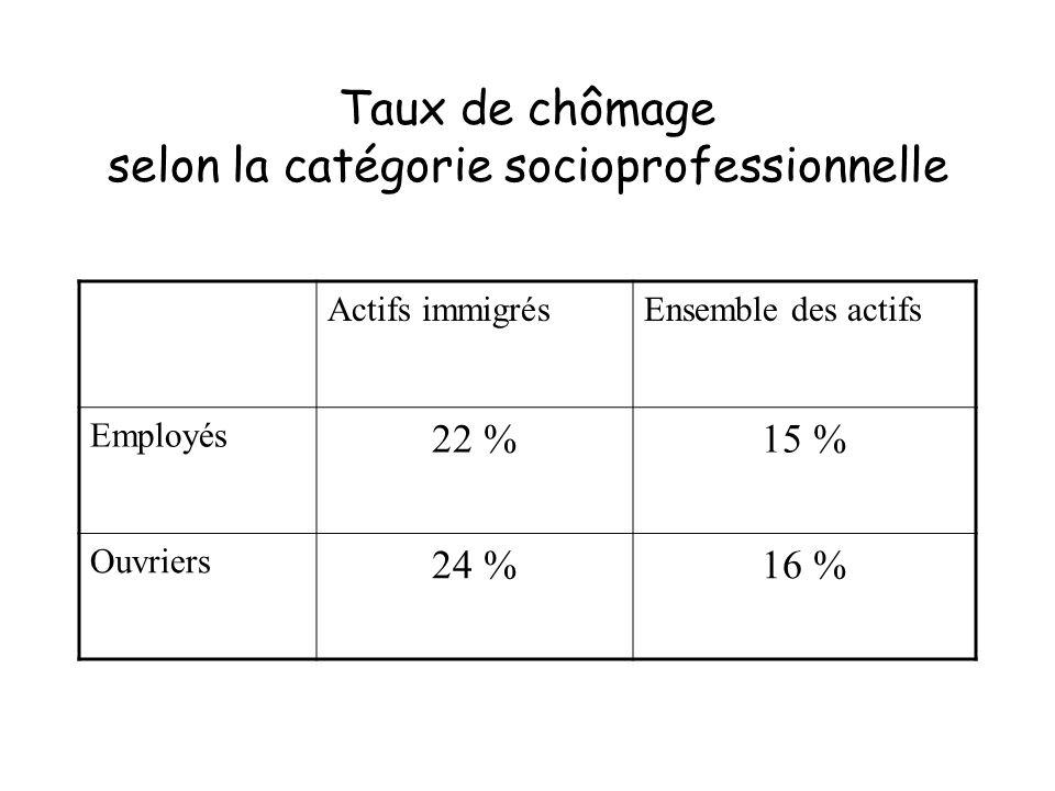 Taux de chômage selon la catégorie socioprofessionnelle Actifs immigrésEnsemble des actifs Employés 22 %15 % Ouvriers 24 %16 %