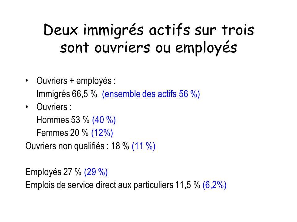 Deux immigrés actifs sur trois sont ouvriers ou employés Ouvriers + employés : Immigrés 66,5 % (ensemble des actifs 56 %) Ouvriers : Hommes 53 % (40 %